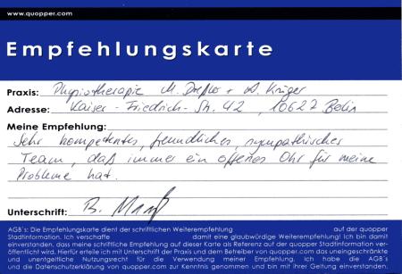 Empfehlung Physiotherapie Charlottenburg
