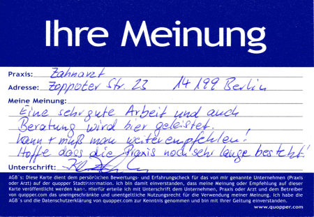 Empfehlung Zahnarzt Zahntechnik Schmargendorf Wilmersdorf Berlin
