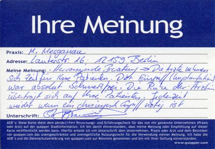 sehr gute Beratung schmerzfrei ruhig und einfühlsam - gute Oralchirugie Berlin Schöneberg Friedenau